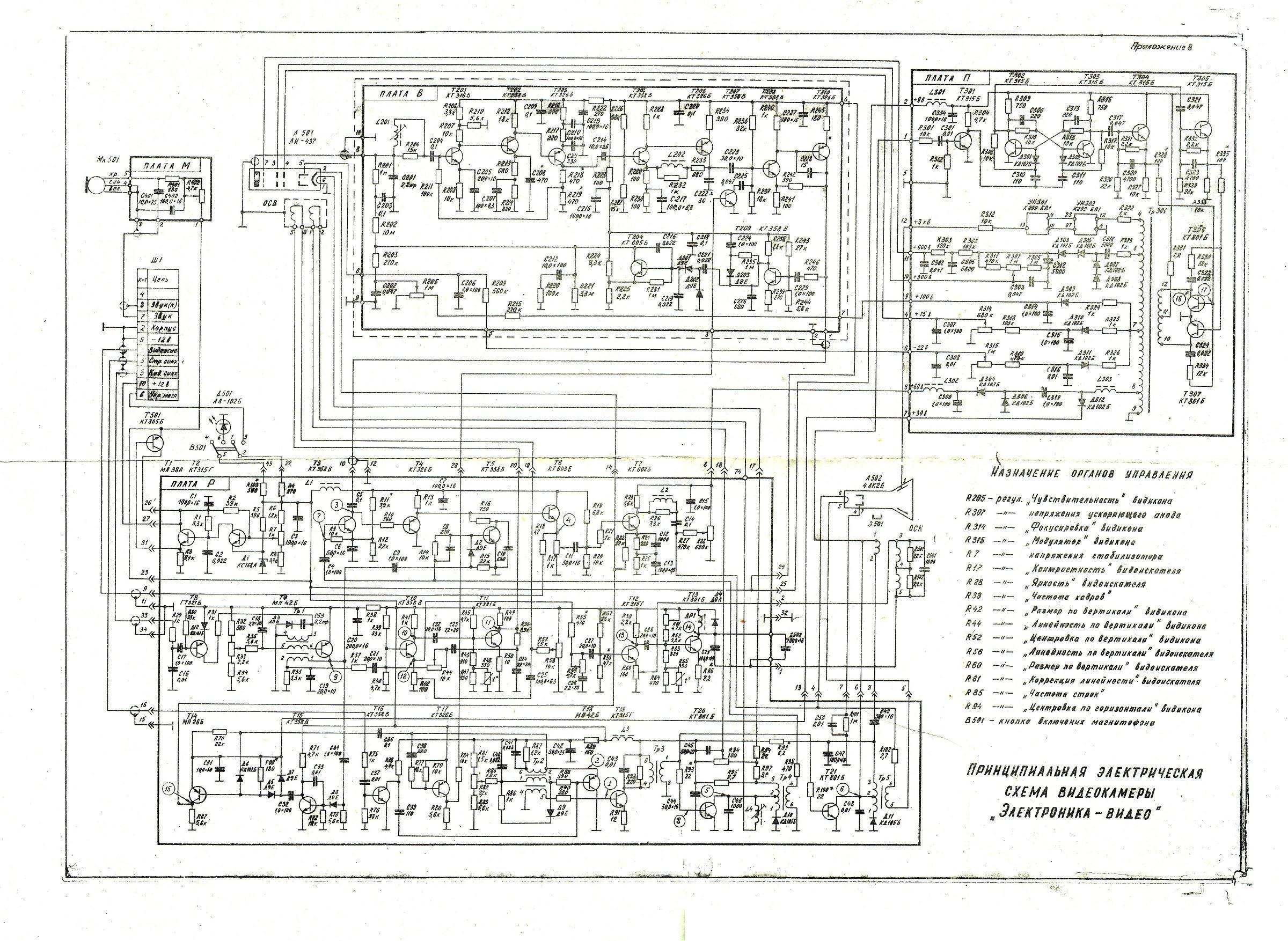 Советская видеокамера электроника схема