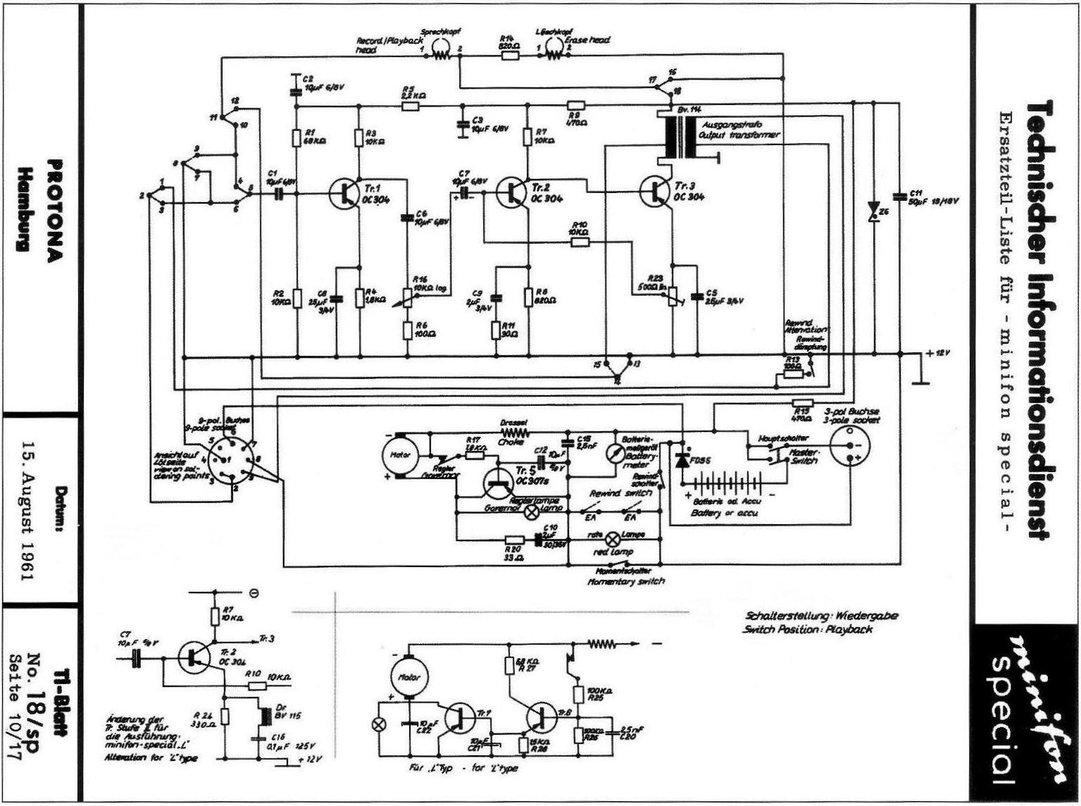 Vintage Technics Minifon Protona Special Simple Speed Diagram L200 Dc Motor Control Circuit The Amplifier Is Built On Four Transistors One Used In Stabilizer And Another As A Protection Diode Power Supply