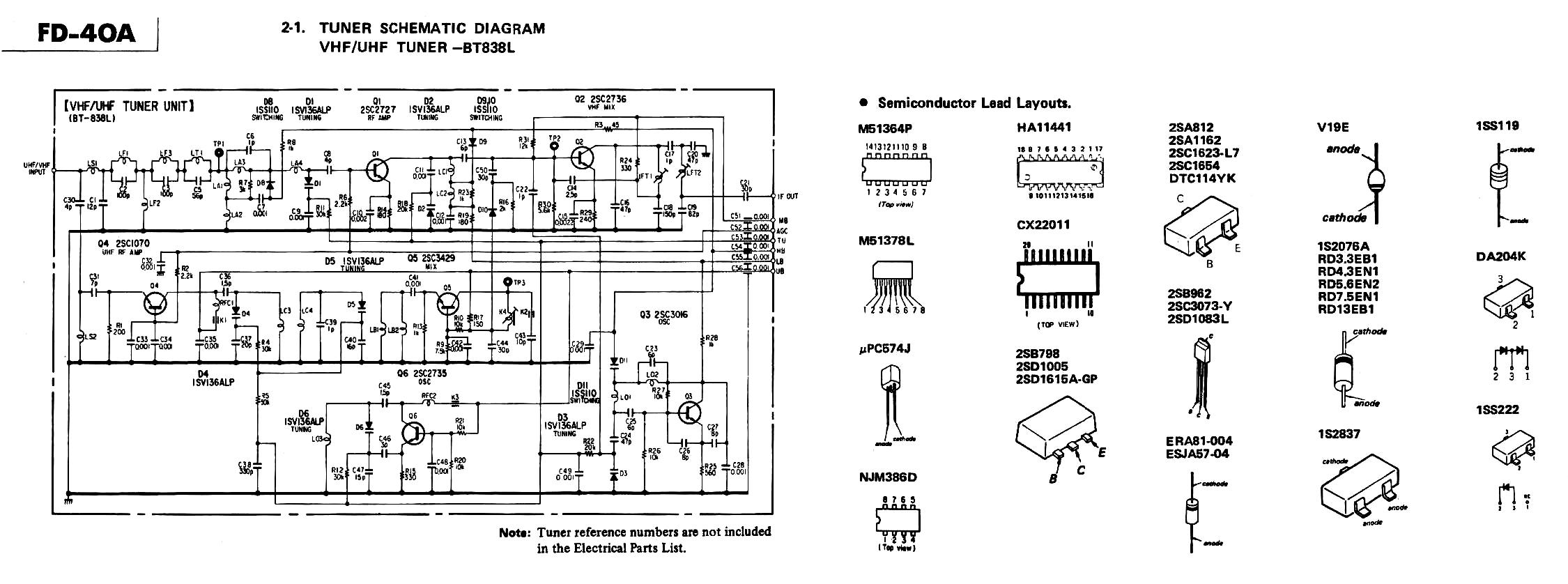 Uhf Tv Tuner Schematic Homebrew Antenna Wire Diagrams Block Diagram Of Receiver Vintage Technics Sony Watchman Fd 40a